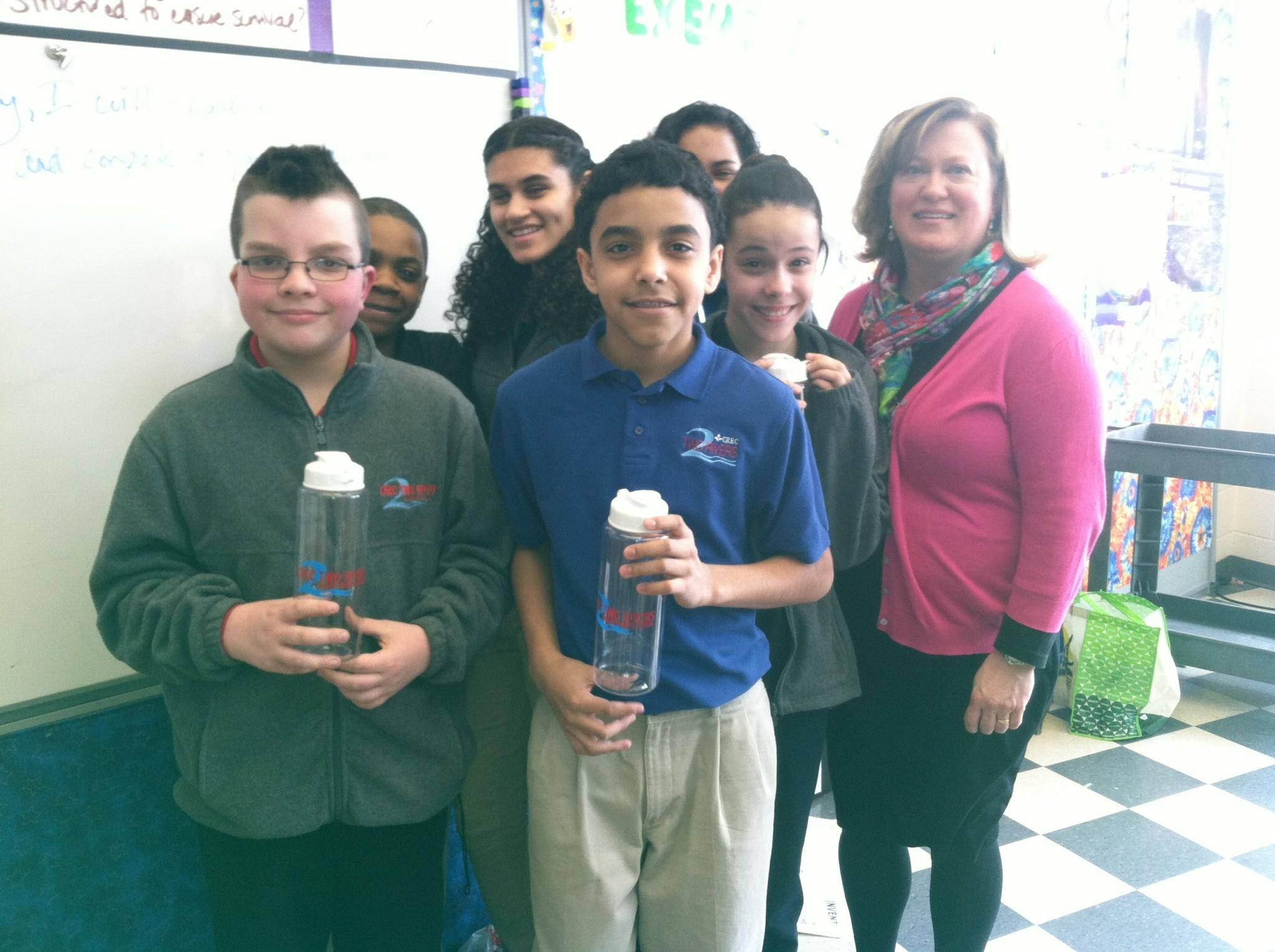 Students at the CREC Two Rivers Middle School are selling reusable water bottles to help fund a well through the Save the Children foundation.