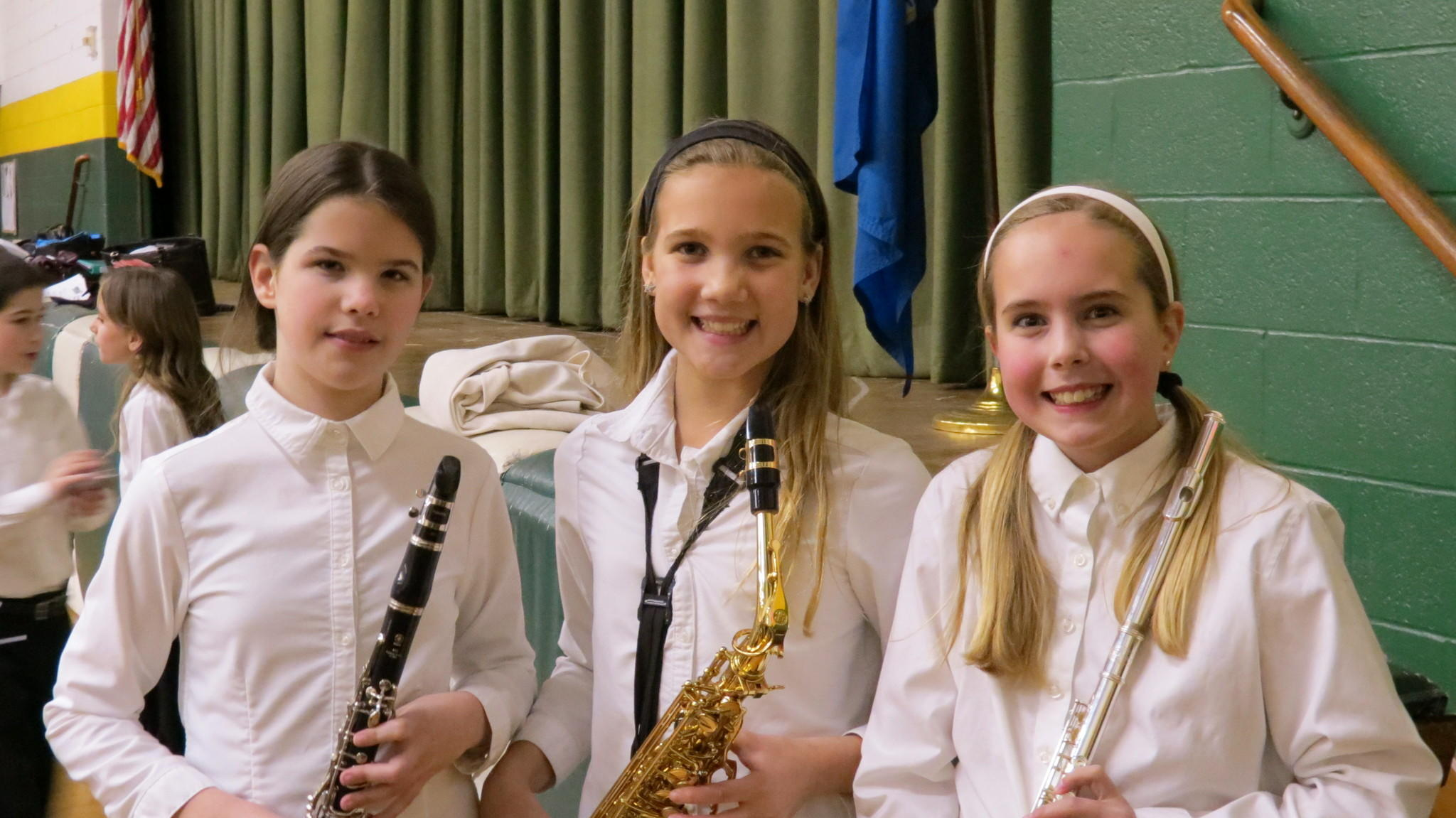 From left to right: Emily M., Audrey B., and Sophie G., all 5th grade students at Saint Mary's School in Simsbury, participated in the FMI All-State Gala Band on March 22 at Central Connecticut State University.