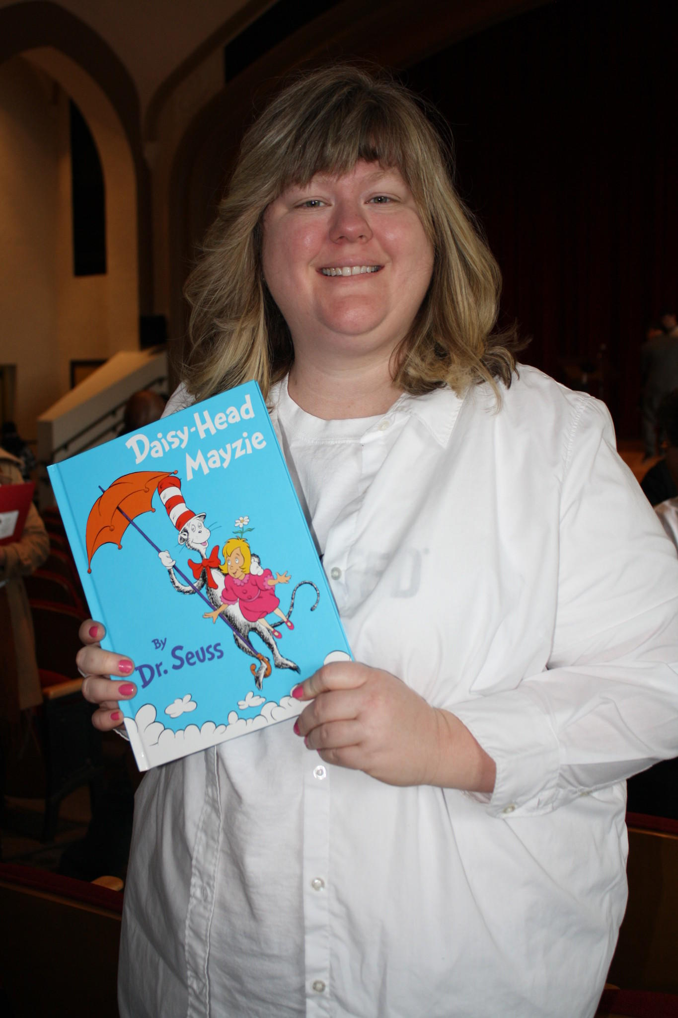 Kathy McDonald, employee at United Technologies Corporation volunteering for United Technologies Research Center on Read Across America Day. She read Daisy-Head Mayzie by Dr. Seuss to a classroom of first graders at Sanchez Elementary School in Hartford.