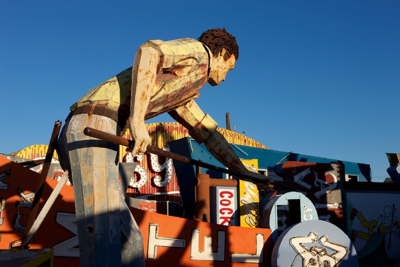 """A 10-foot-tall pool player that once graced Doc and Eddy's Pool Hall is one of the attractions at the Neon Museum in Las Vegas. It made a list of """"50 Museums Worth Traveling For"""" that highlights one museum in each state."""