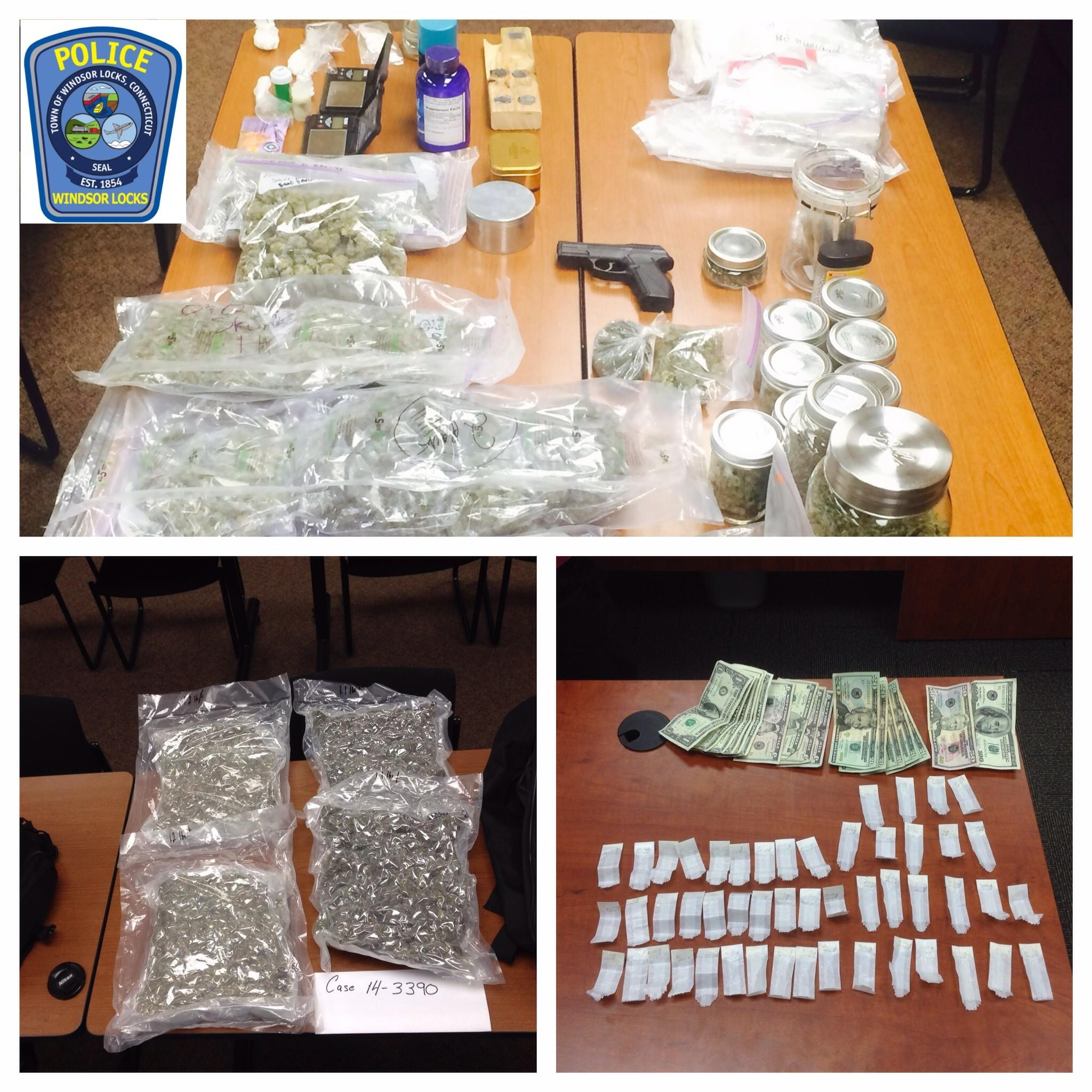 Windsor Locks Police said they obtained a search warrant for 66-A Elm Corners, which is owned by Michael Rancourt, 30, and seized about 7.5 pounds of marijuana, 1.12 ounces of cocaine, 187 prescription pills including oxycodone, and codeine, and about $60,000 in cash. Rancourt was charged with operating a drug factory, sale of narcotics, sale of marijuana, sale of prescription drugs and use of drug paraphernalia, police said.