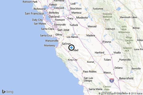 A map shows the approximate location of the epicenter of Monday night's quake near Soledad.
