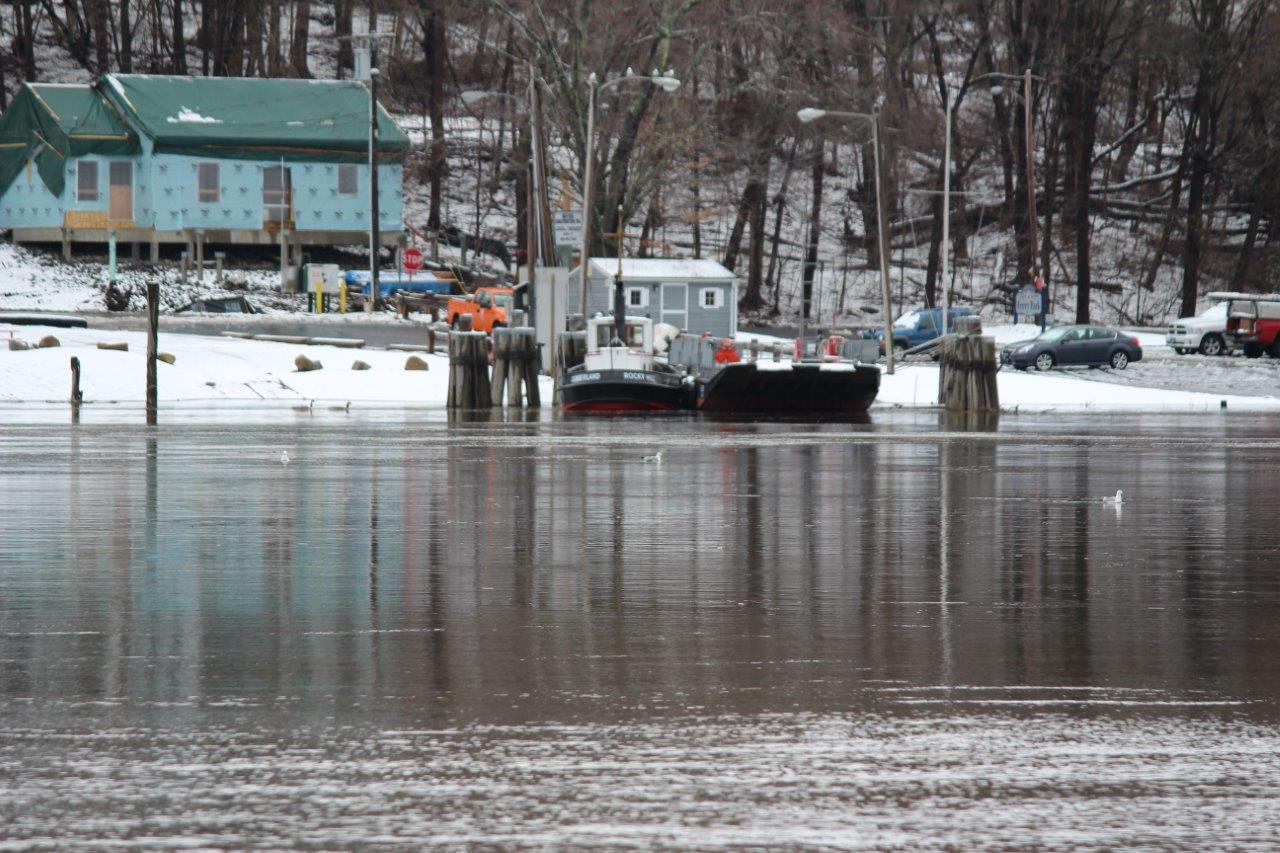 The debut of the ferry season will have to wait until the river recedes.