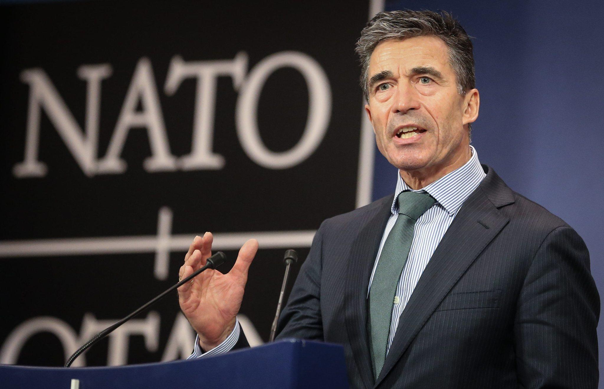 NATO Secretary-General Anders Fogh Rasmussen gives a media briefing at a meeting of the alliance's foreign ministers in Brussels.