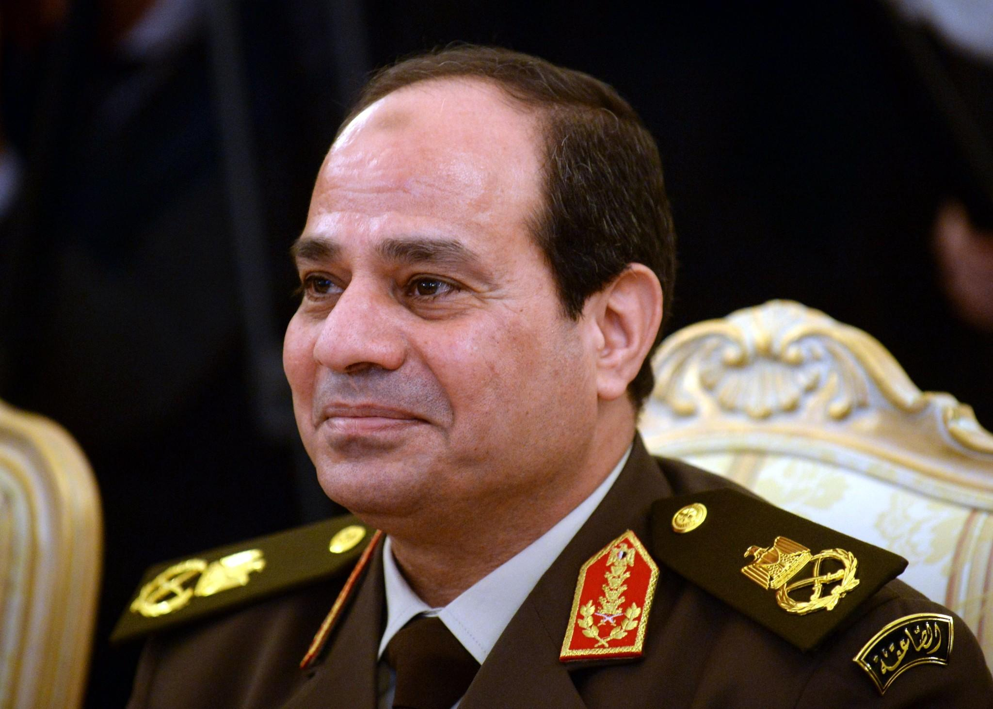 A picture taken on Feb. 13 shows then-Egyptian army chief Gen. Abdel Fattah Sisi during a meeting in Moscow.