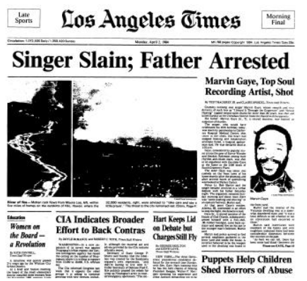 Death of singer Marvin Gaye reported on Times' front page.