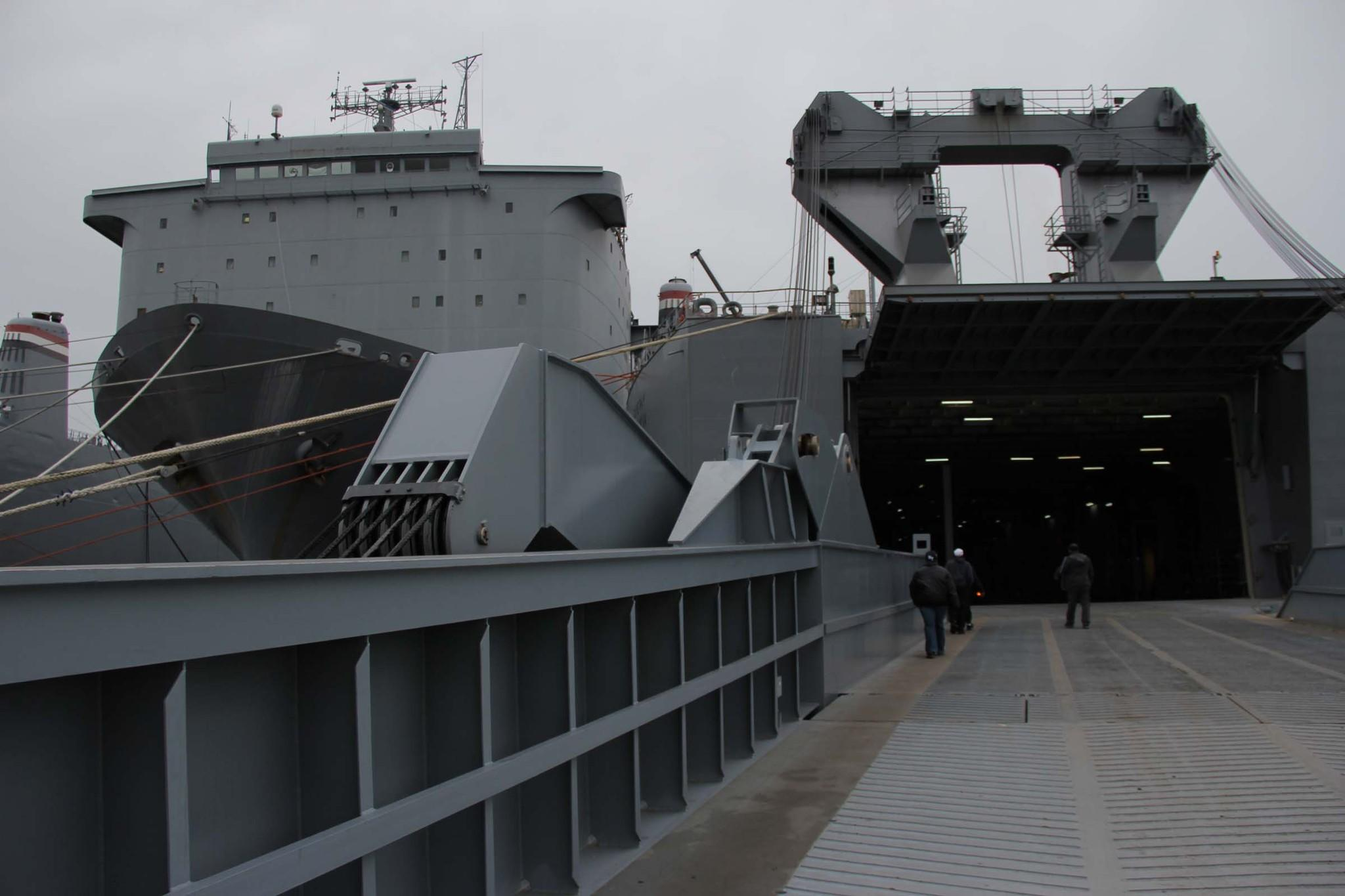 Some Edgewood Chemical Biological Center staff are aboard the container ship MV Cape Ray at a naval station in Rota, Spain, awaiting orders to assist with destroying Syrian chemical weapons.