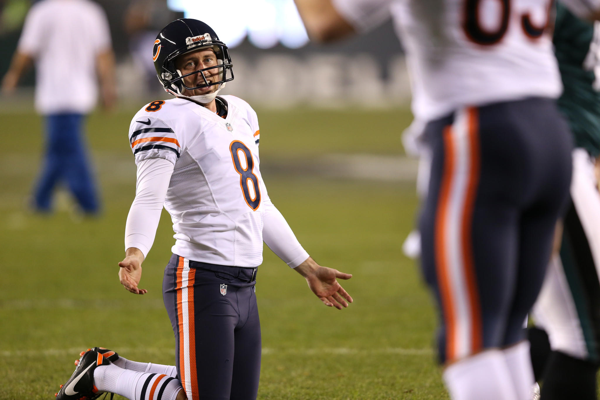 Punter Adam Podlesh warms up before the Bears' game against the Philadelphia Eagles at Lincoln Financial Field.