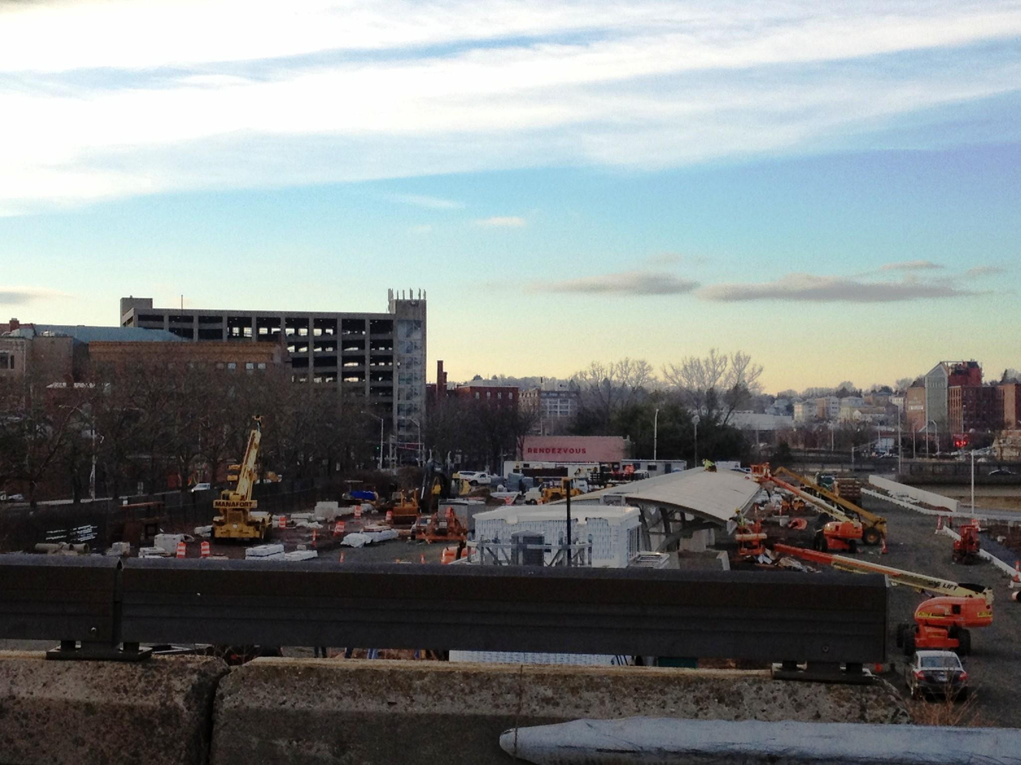 The New Britain busway station under construction in late January.
