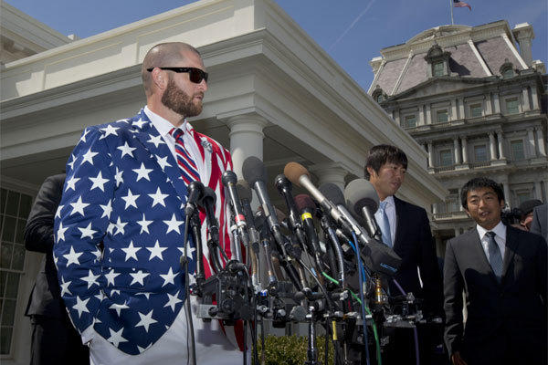 Boston outfielder Jonny Gomes went the patriotic route with his White House attire on Tuesday.