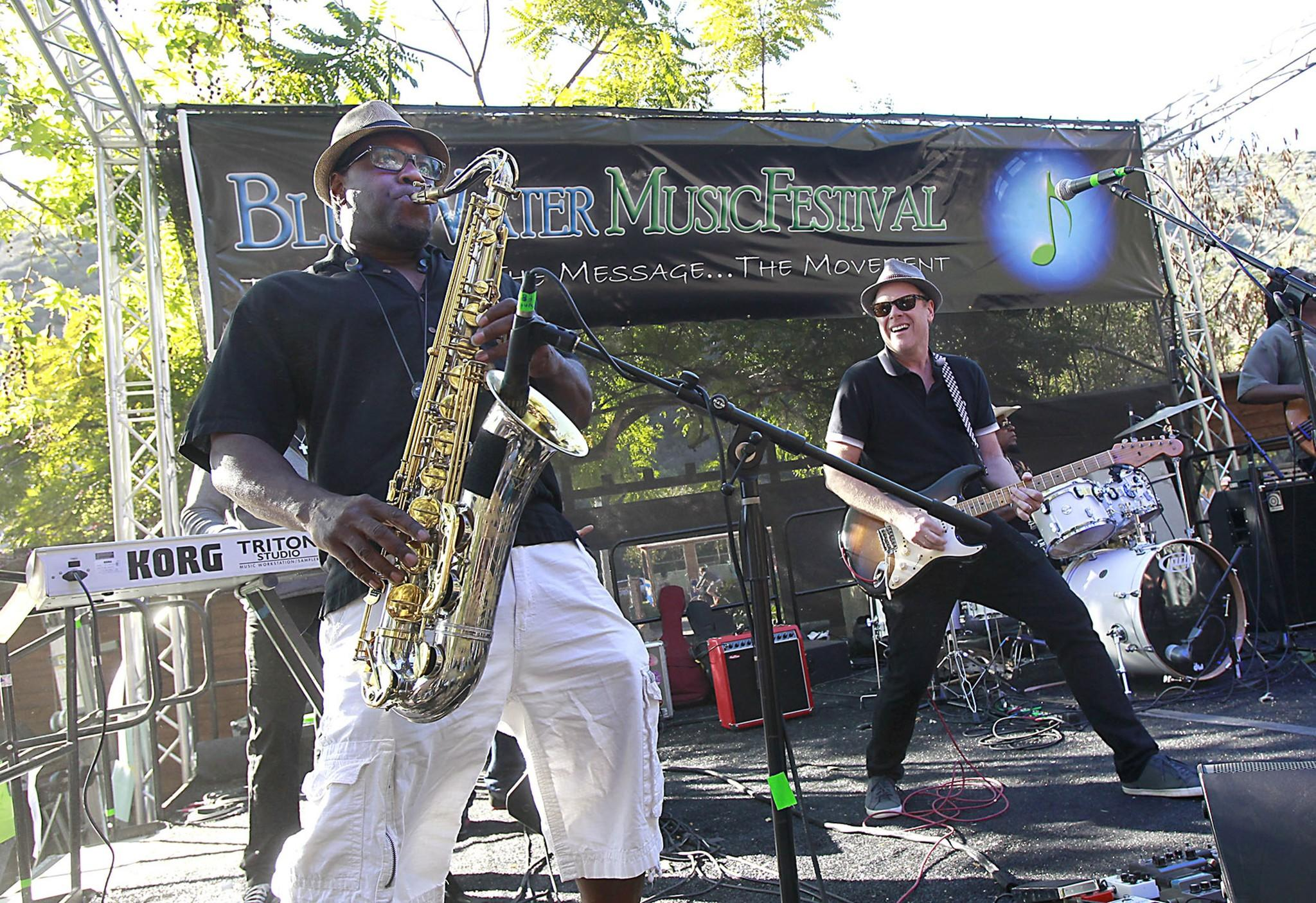 Saxophonist Harold Todd, left, and guitarist Phil Gough of Common Sense Band get into the music during their afternoon set at the 2014 Blue Water Music Festival at the Sawdust on Sunday.