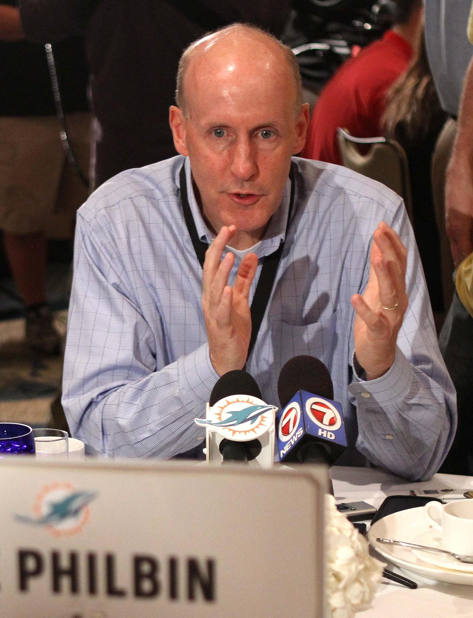Miami Dolphins head coach Joe Philbin talks to reporters during the NFL meetings in Orlando.