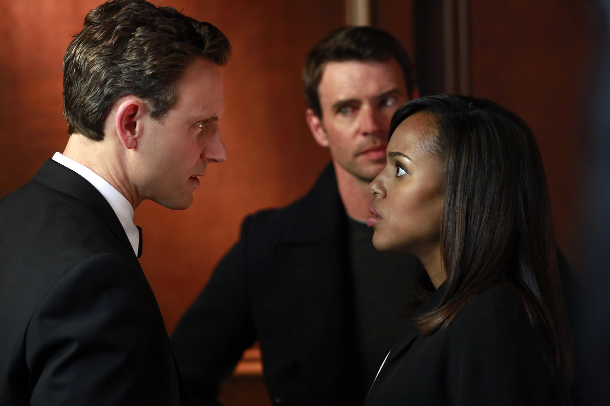 "Tony Goldwyn (from left), Scott Foley and Kerry Washington star in the now Peabody Award-winning ""Scandal."""