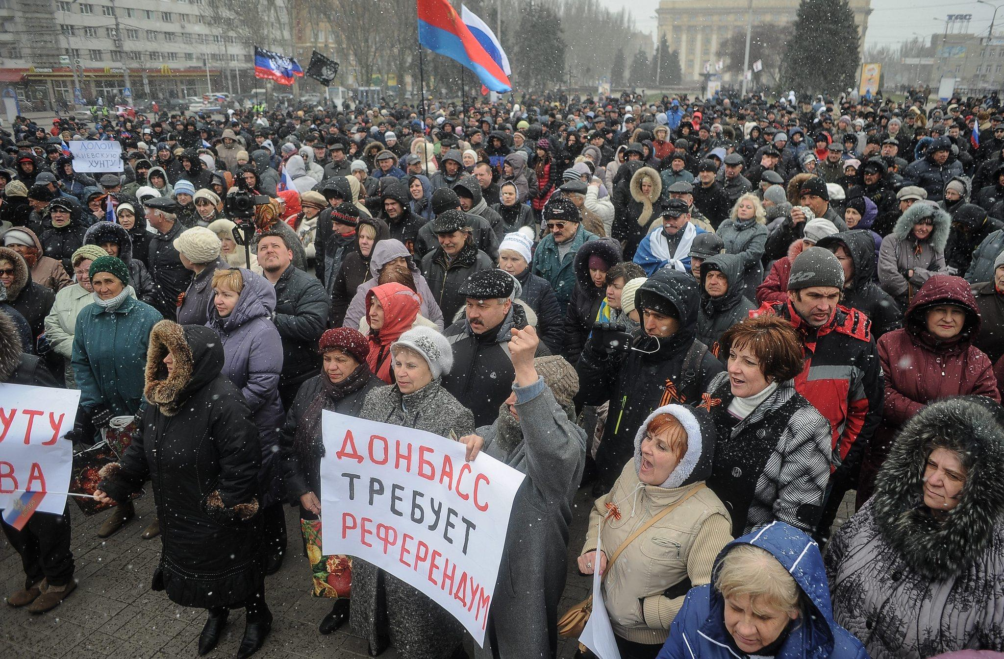 Pro-Russian protesters calling in part for Viktor Yanukovich to return to Ukraine attend a rally in the eastern city of Donetsk on Saturday.
