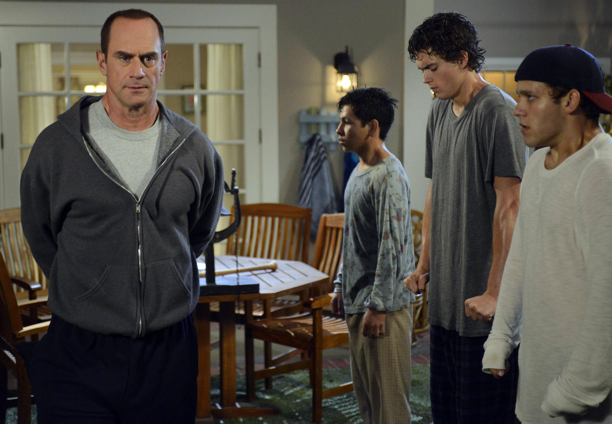 "Coaching his own kids is challenging for Jack (Christopher Meloni, left) on ""Surviving Jack."" With Christopher Meloni, left, Kevin Hernandez, Connor Buckley and Tyler Foden."