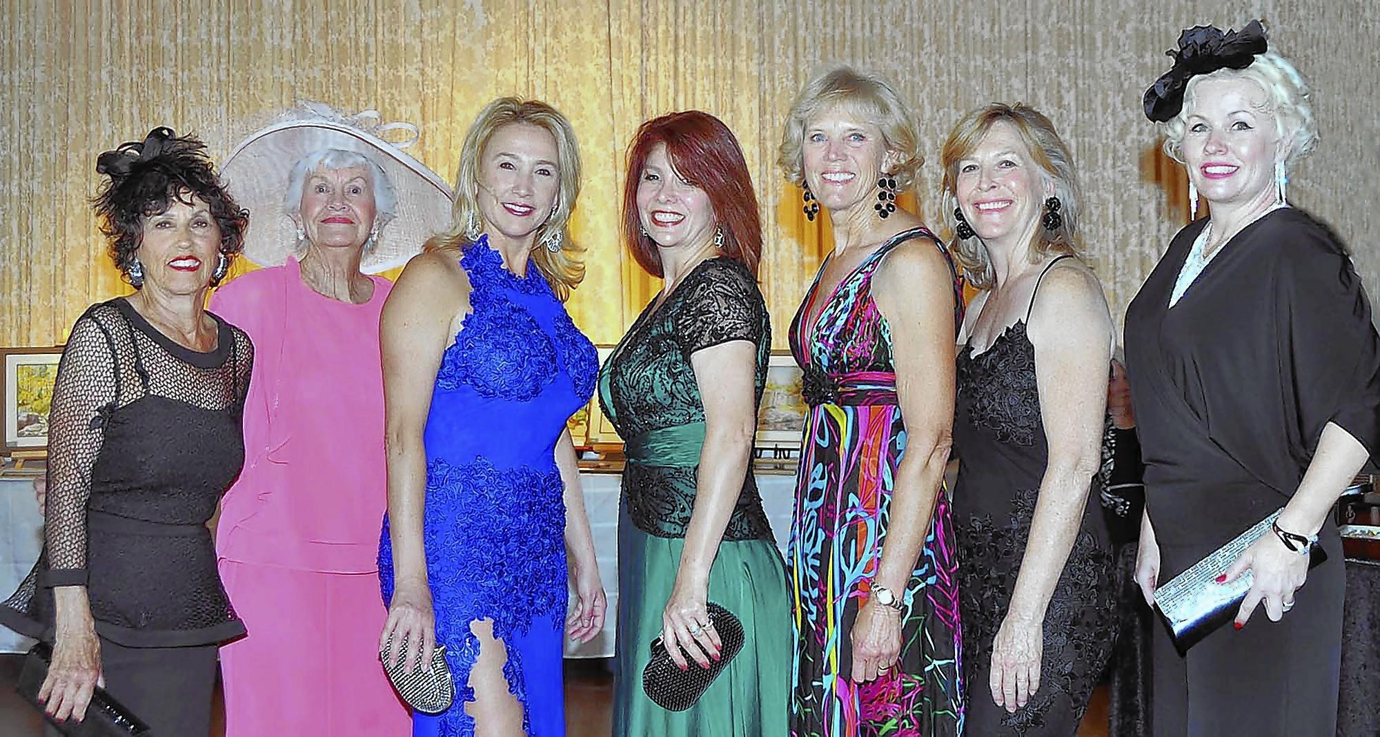 Some of the models at the Thursday Club fashion show were, from left, Anne Wacker, Pat Huber, Suzy Lawrence, Aida Avanessian, Marian Christensen, Jane Owen and Cindi McIntosh-Behr.