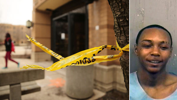Leftover police tape hangs from a tree on Tuesday outside a UIC dormitory where police say Tavares Humphries, right, attacked a student in the shower.