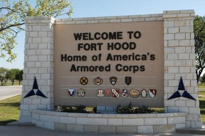 The main gate at the U.S. Army post at Fort Hood, Texas.