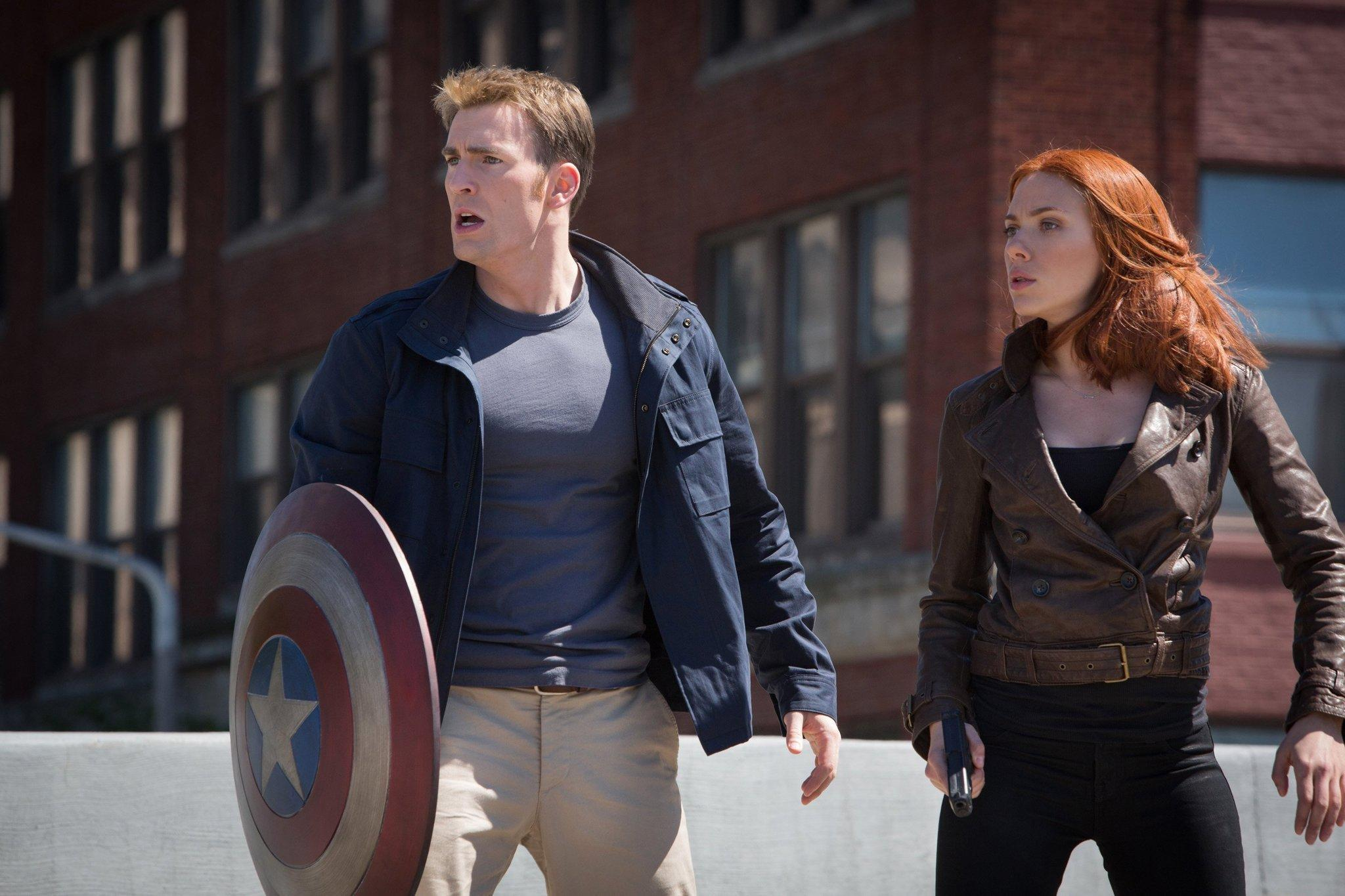 """Chris Evans and Scarlett Johansson in """"Captain America: The Winter Soldier."""""""