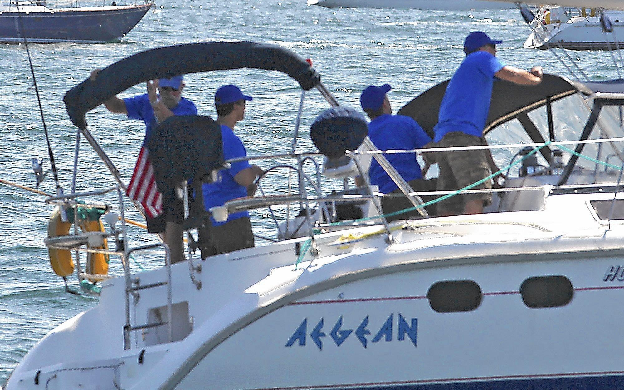 The crew of the Aegean at the start of the 2012 Newport to Ensenada Yacht Race. All four men died when the boat crashed into North Coronado Island during the race.