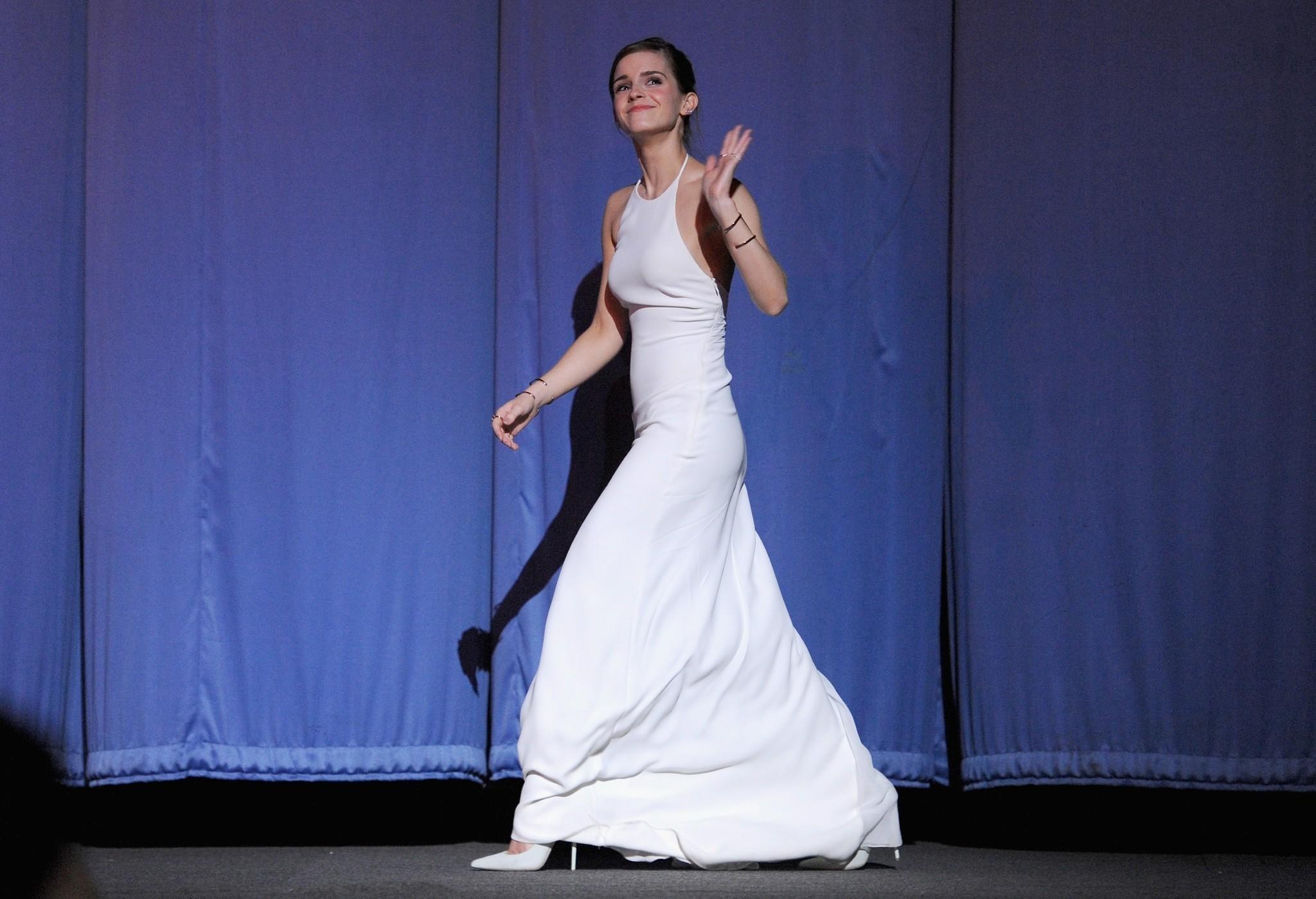 """Emma Watson attends the UK premiere of """"Noah"""" in London."""