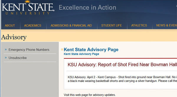 Kent State University sent out this advisory on its website.