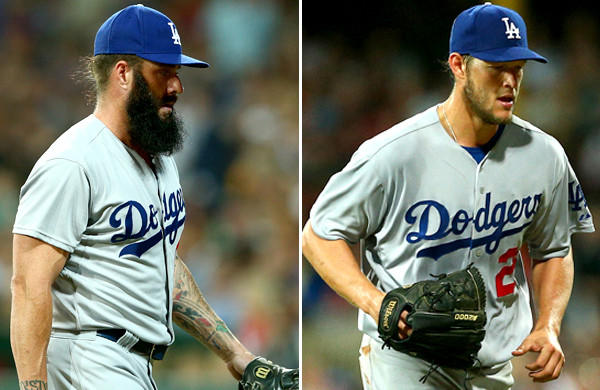 Reliever Brian Wilson, left, and starter Clayton Kershaw have quickly gone from prime contributors to big question marks for the Dodgers to start the season..