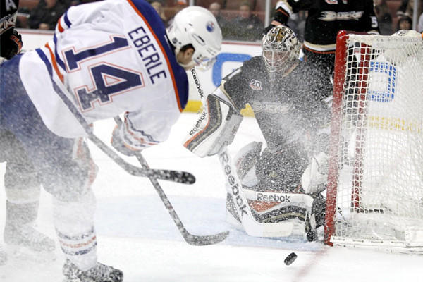Edmonton's Jordan Eberle puts a shot on Ducks goalie Frederik Andersen during the first period. Eberle had a goal in the Oilers' 3-2 loss to Anaheim on Wednesday at Honda Center.