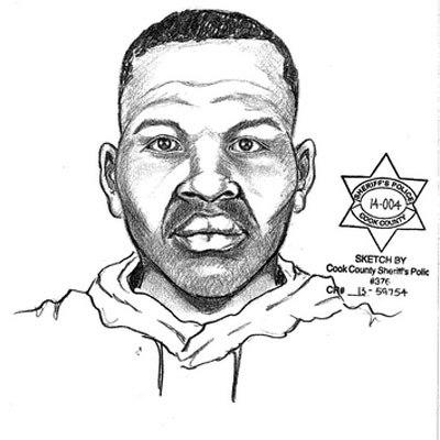 A police sketch of a suspect wanted in multiple attacks in the village of Park Forest