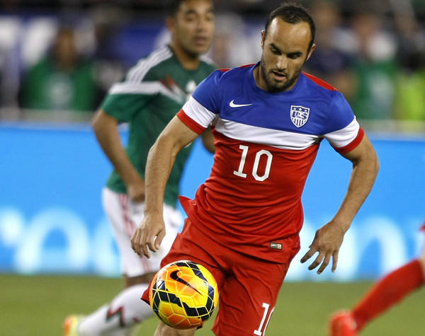 U.S. midfielder Landon Donovan runs onto the ball against Mexico during the second half of a friendly.