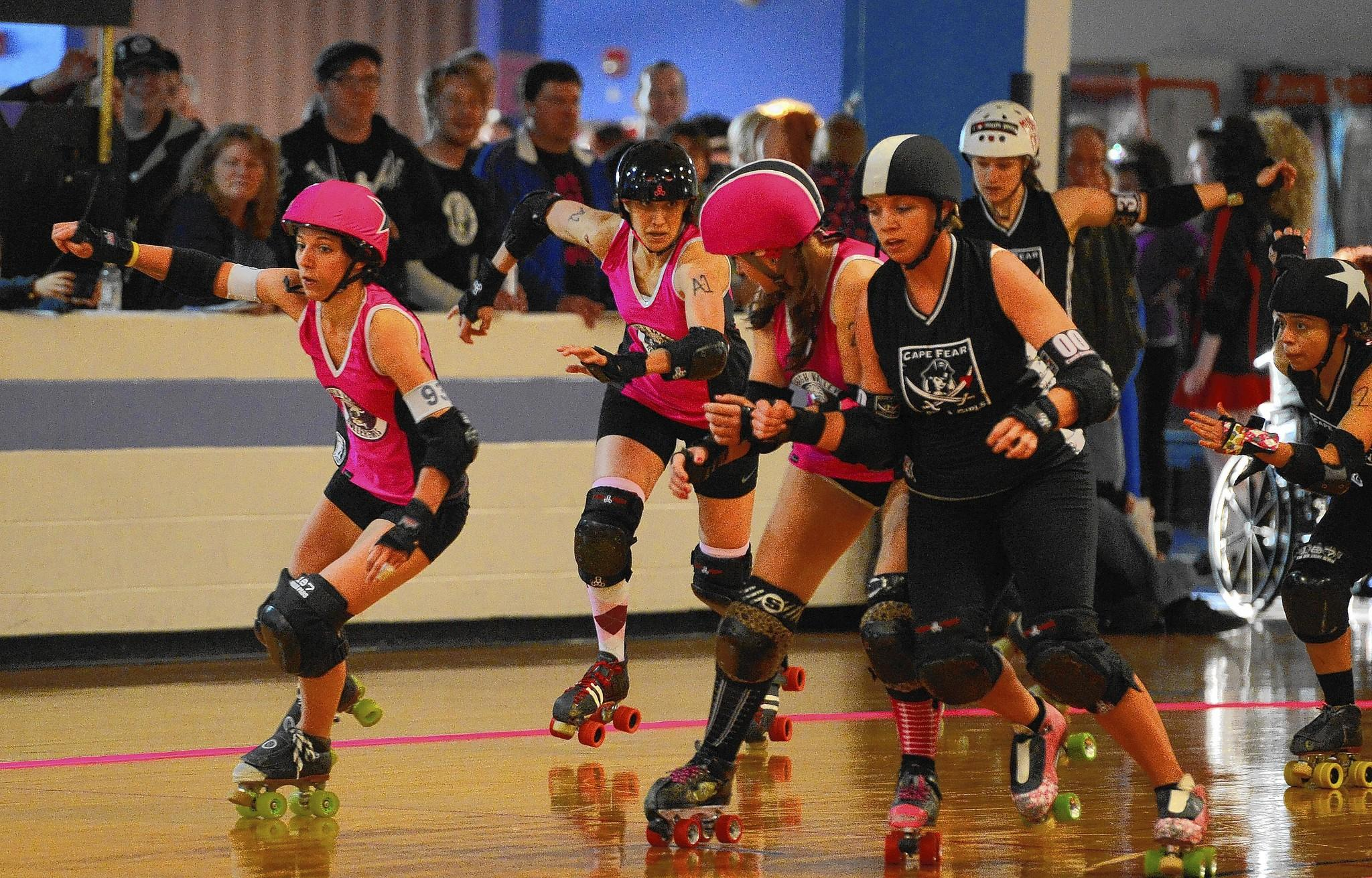 Lehigh Valley Rollergirls MJ Slamber (front) gets out in front during a match against the Cape Fear Roller Girls held at Independence Family Fun Center on March 23.