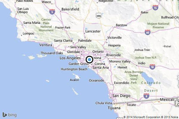 A map shows the approximate location of the epicenter of Thursday morning's quake near East La Mirada.
