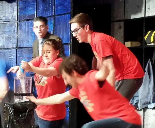 """(L to R) ComedySportz house team members Jesse Gomez, Rosie Moan, Ben Larrison and Mark Campbell star in """"Improvised Double Dare."""""""
