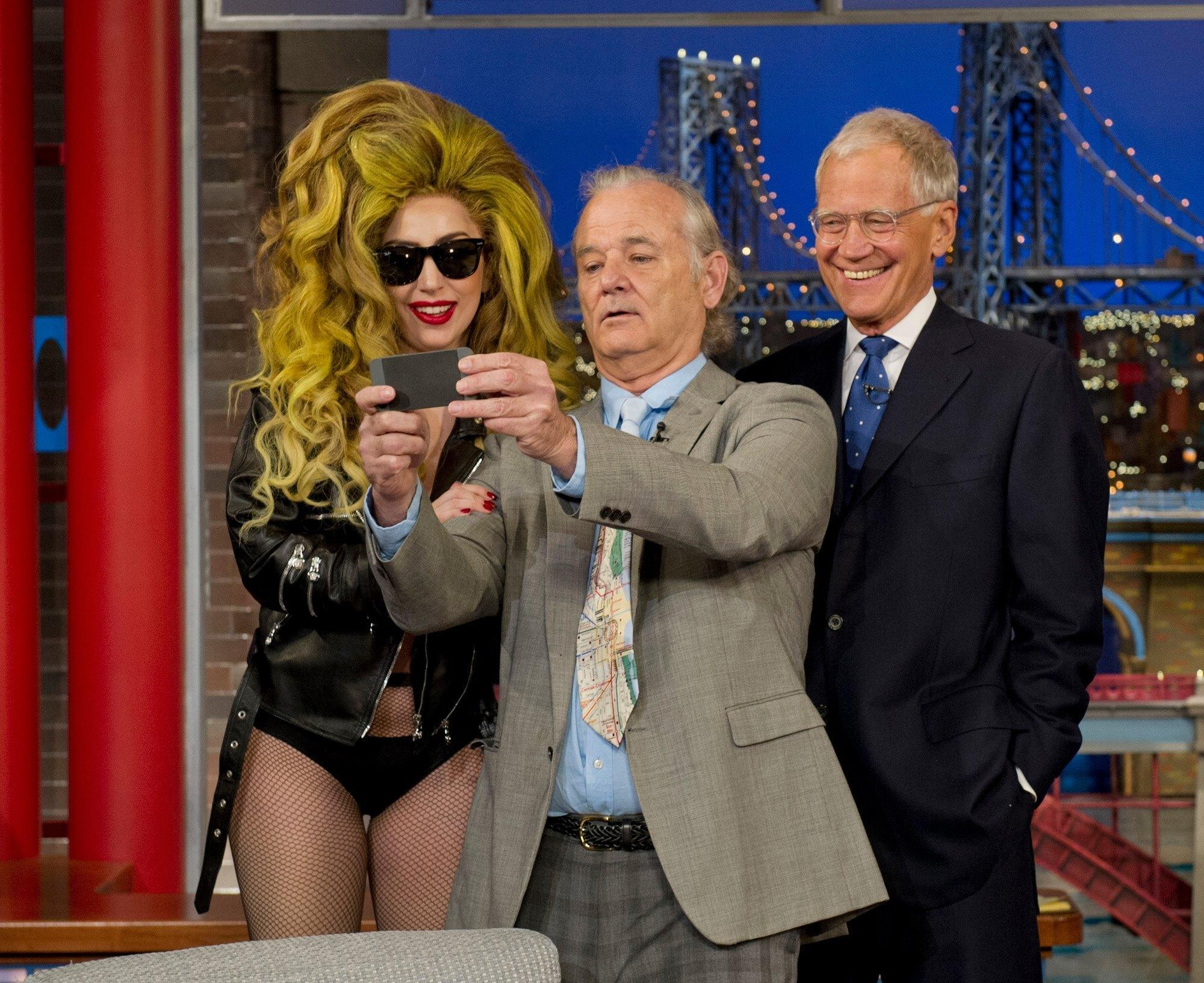 "Lady Gaga appears with Bill Murray on ""Late Show with David Letterman."""