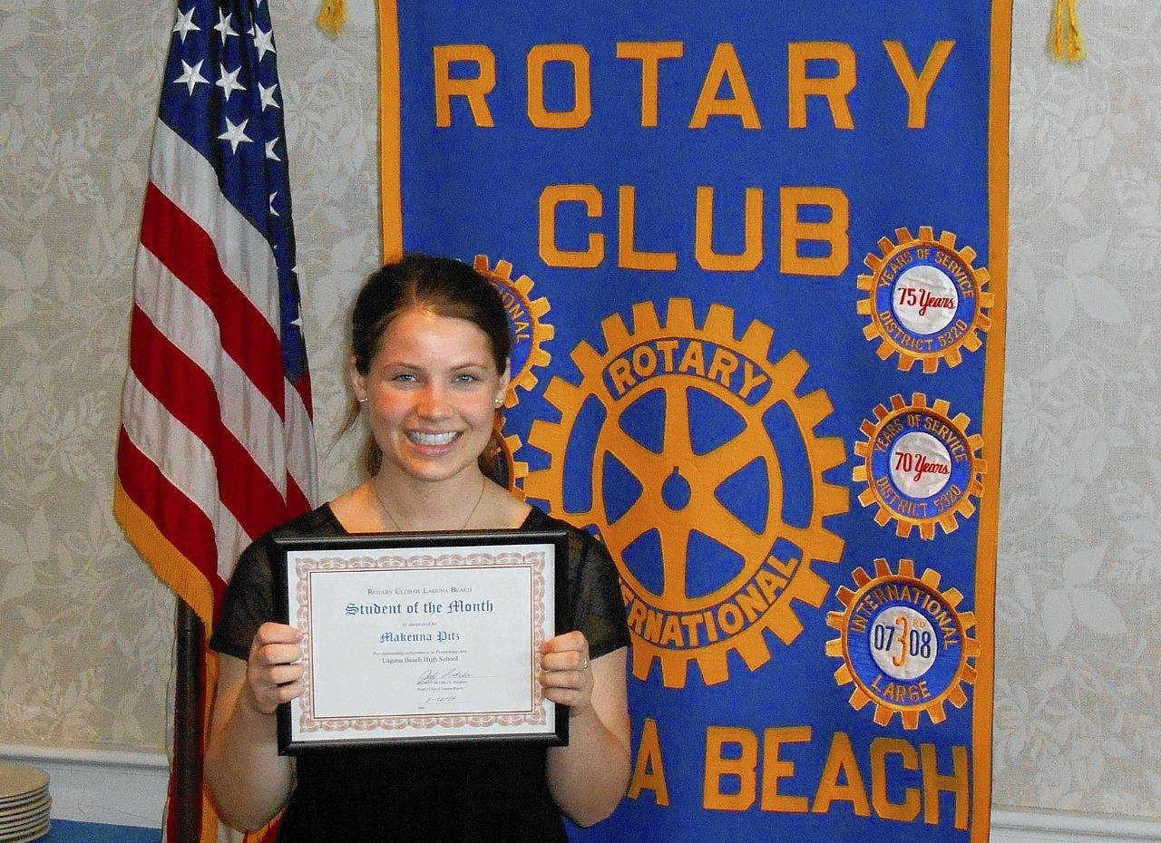 Makenna Pitz is the Rotary Club of Laguna Beach's Student of the Month for March.