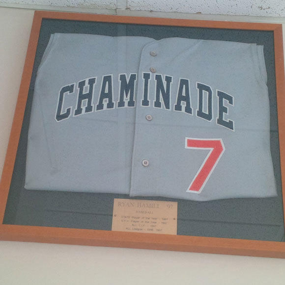 The jersey of Chaminade baseball standout Ryan Hamill (class of 1997).