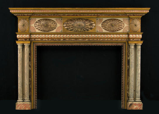 This painted Virginia yellow-pine mantel from the collection of a Williamsburg couple is among more than 350 early Southern objects on view in the new Colonial Williamsburg exhibit.