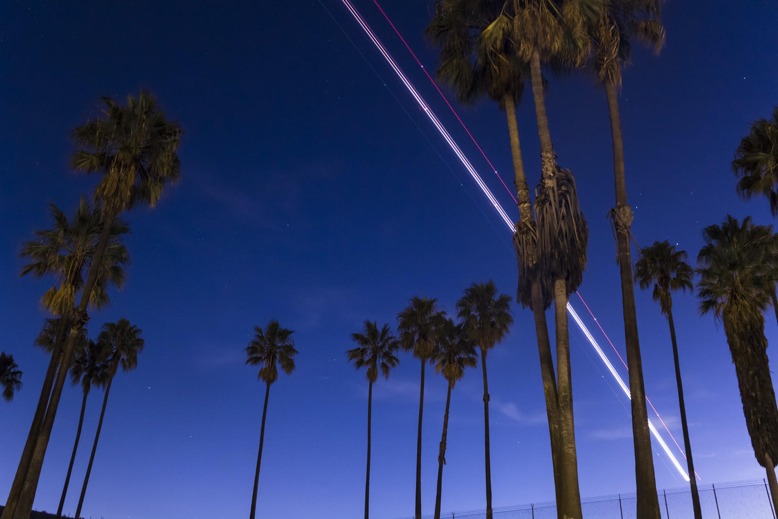 The light trail from a plane near LAX can be seen.