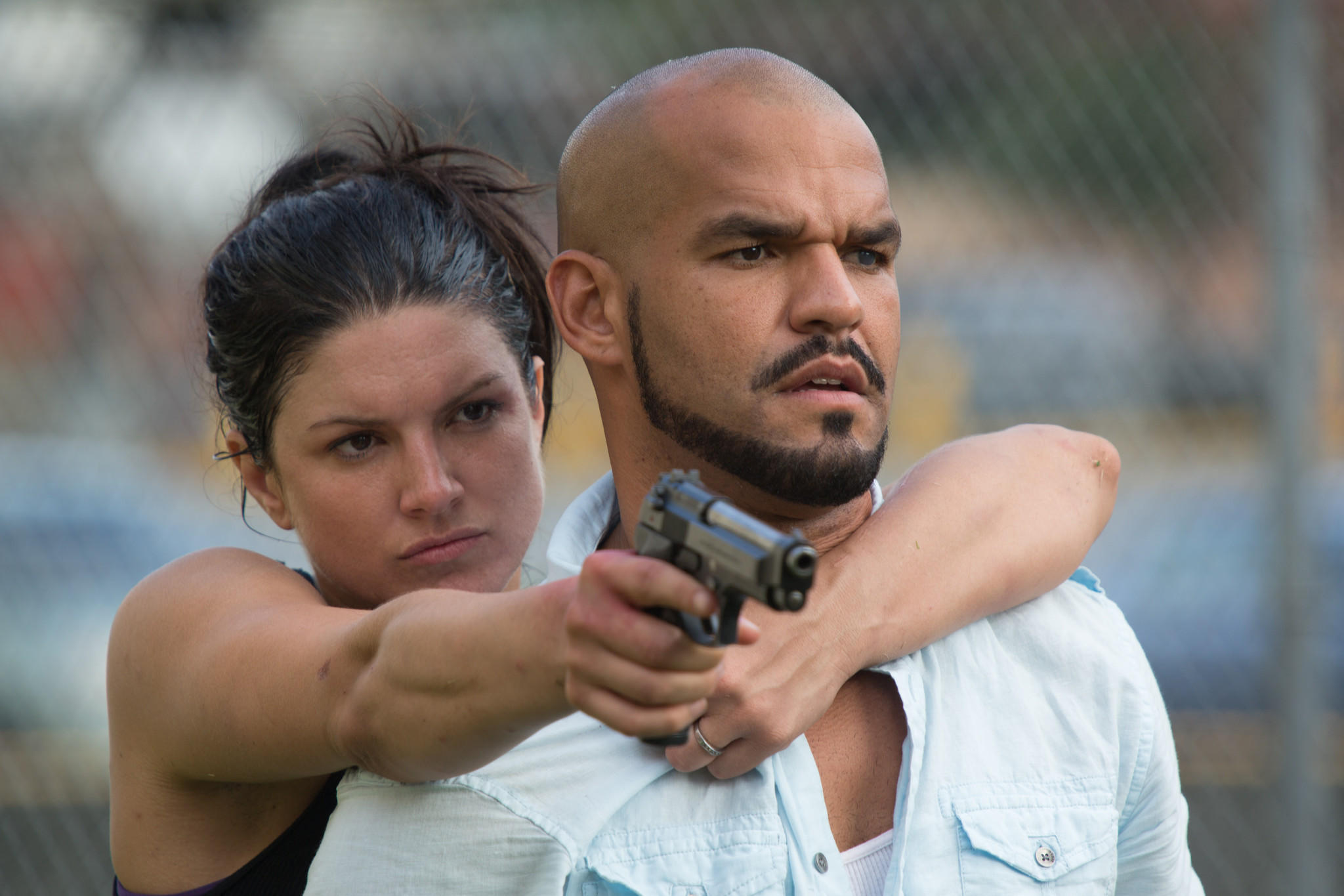 "Gina Carano as Ava and Amaury Nolasco as Silvio Lugo in the movie ""In The Blood."""