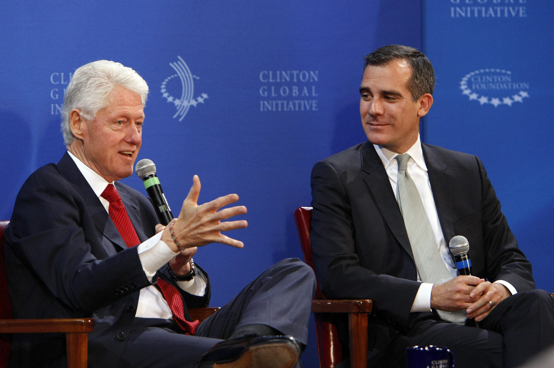 Former President Bill Clinton, left, and Los Angeles Mayor Eric Garcetti during the Clinton Global Initiative forum on public infrastructure at Los Angeles City Hall.