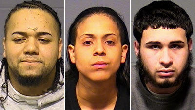 From left, Rigoberto Mateo-Silva, 21, Dianiris LaBoy, 21, and Joshua Santos, 18, all of Hartford, were arrested in drug raids at two apartments in Hartford on Wednesday. Mateo-Silva was charged with several drug offenses, including possession of narcotics with intent to distribute and operating a drug factory. LaBoy was charged with possession of narcotics, possession of narcotics with intent to distribute and possession of narcotics with intent to distribute within 1,500 feet of a school. Santos was charged with three drug offenses and interfering with officers.