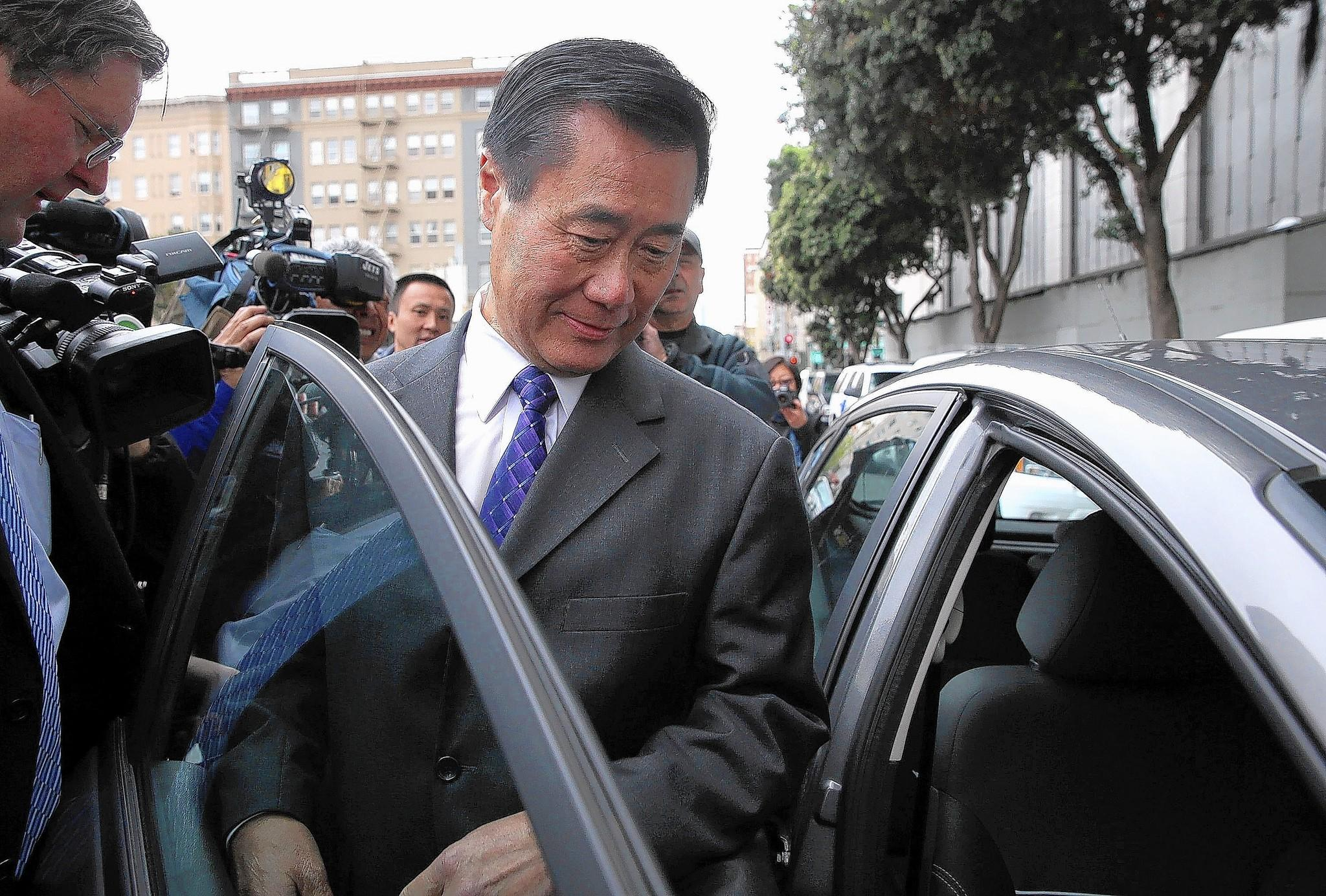 State Sen. Leland Yee leaves the Federal Building in San Francisco after a court appearance. Yee was arrested by FBI agents last week on charges of criminal corruption and conspiring to illegally traffic firearms.