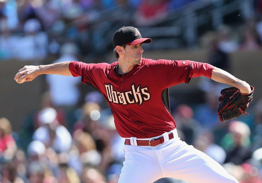 Starting pitcher Brandon McCarthy of the Arizona Diamondbacks, a Glendale resident, pitches against the Chicago Cubs during the spring training game at Salt River Fields at Talking Stick on March 26 in Scottsdale, Arizona. (Photo by Christian Petersen/Getty Images)