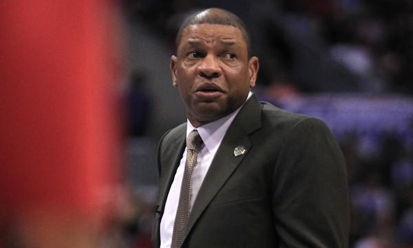 Clippers Coach Doc Rivers questions a call during the team's 113-107 loss to the Dallas Mavericks at Staples Center on Thursday. Rivers says the Clippers will discover their true capabilities once the playoffs start.