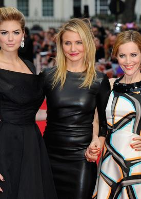 "Kate Upton, left, joins Cameron Diaz and Leslie Mann, who costar in ""The Other Woman,"" at the film's London premiere on Wednesday. Upton is wearing a vintage William gown and Christian Louboutin pumps, Diaz is wearing a leather dress by the Row and Manolo Blahnik pumps, and Mann is wearing a Giles dress and Roger Vivier shoes."