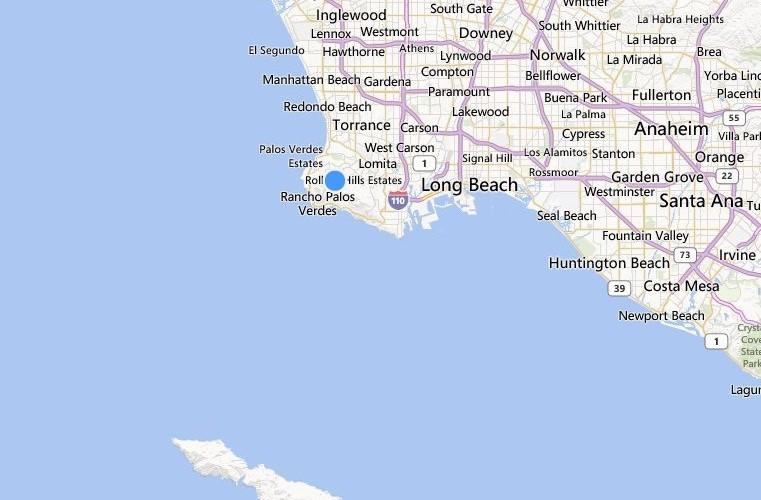 Map shows the approximate location where a panga was spotted off the Palos Verdes Peninsula. Some of the 17 people on board were taken to a hospital for treatment.