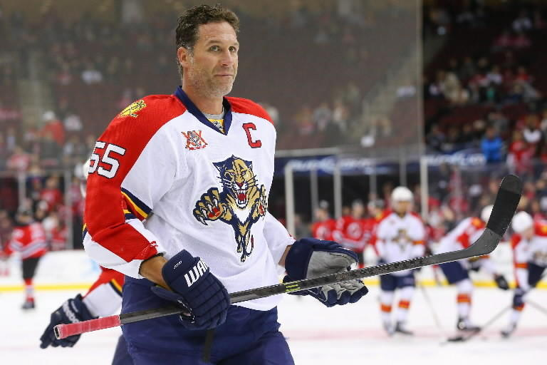 Florida Panthers defenseman Ed Jovanovski (55) skates on the ice prior to the game against the New Jersey Devils at Prudential Center.