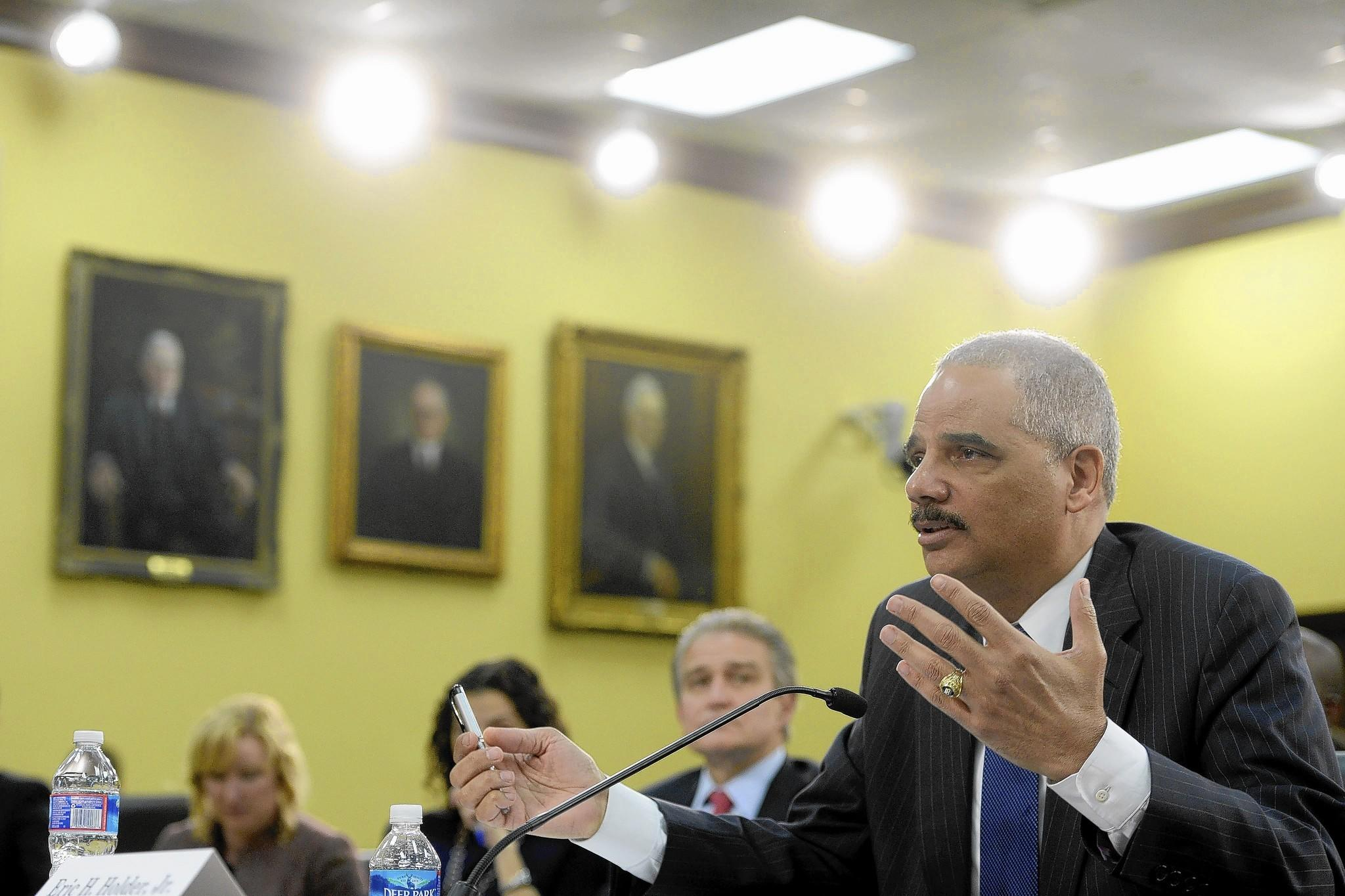 U.S. Atty. Gen. Eric Holder speaks during a House Appropriations subcommittee hearing.