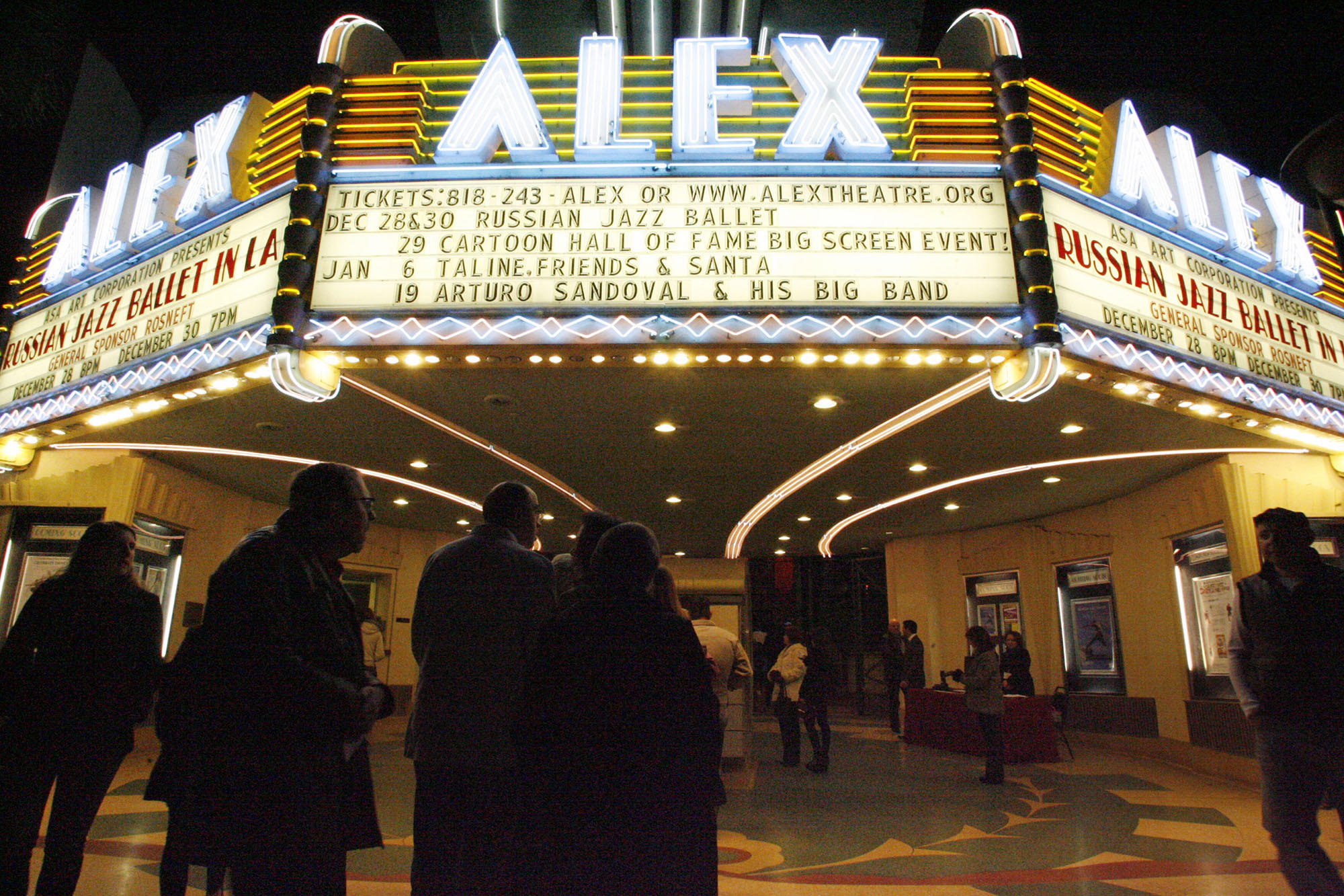 "Guests arrive at the Alex Theatre to watch the ""Territory of Jazz"" performance at the Alex Theatre in Glendale on Friday, December 28, 2012."