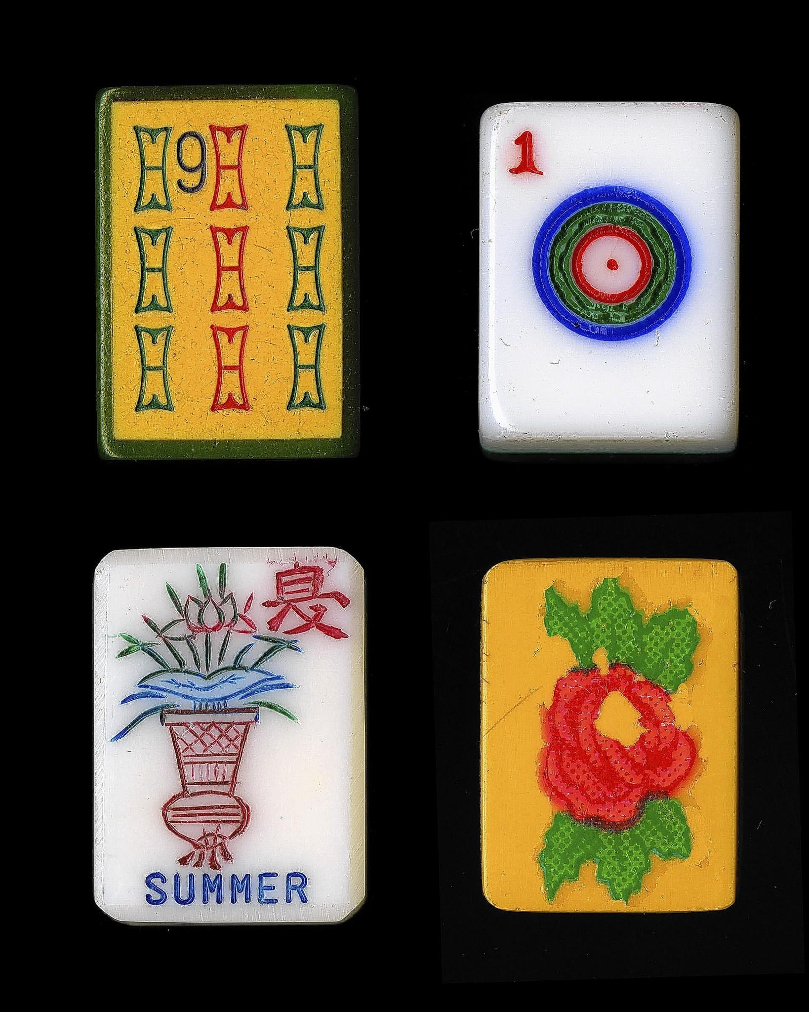 "Vintage mah jongg tiles, part of the ""Project Mah Jongg"" exhibit at the Jewish Museum of Maryland."